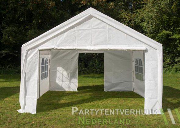 Partytent 4x4 meter voorkant met deur open huren - Partytentverhuur Eindhoven