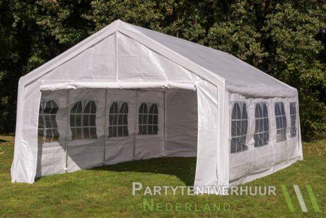 Partytent 4x8 meter voorkant schuin huren - Partytentverhuur Eindhoven
