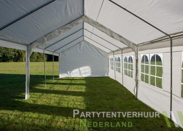 Partytent 6x12 meter zijkant links open huren - Partytentverhuur Eindhoven