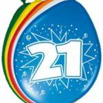 21 jaar ballon multikleur kopen - Partytentverhuur Eindhoven