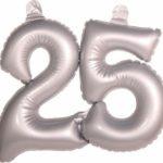 Opblaascijfer 25 Zilver kopen