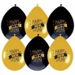 Zwart/gouden happy new year ballonnen kopen - Partytentverhuur Eindhoven
